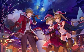 Picture winter, girls, anime, art, Christmas, New year, guy