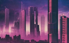 Picture The city, Future, Skyscrapers, Art, Fiction, Rendering, Illustration, Synth, Retrowave, Synthwave, New Retro Wave, Futuresynth, ...