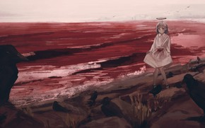 Picture sea, blood, girl, crows, halo