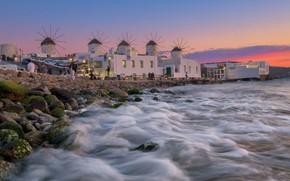 Picture sea, shore, Greece, windmills, Mykonos