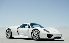 Picture Porsche, Sky, 918, Hybrid, White, VAG