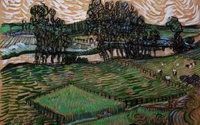Picture Landscape, Vincent van Gogh, with Bridge across, the Oise