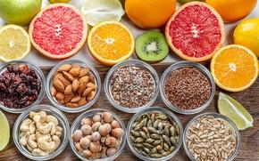 Picture oranges, nuts, seeds, citrus, grapefruit, almonds, raisins, cashews