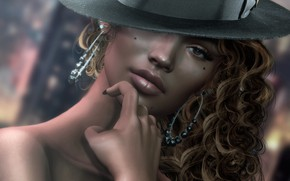Picture girl, face, rendering, hair, hat