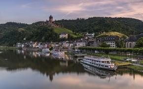 Picture river, castle, Germany, liner, Cochem