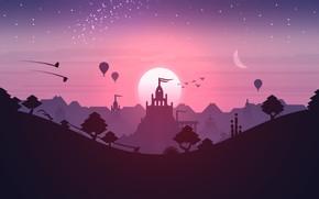 Picture Pink, Android, Purple, Games, Stars, Landscape, Sunset, Temple, iOS, Minimalism, Hill, Minimalism, Dunes, Noodlecake Studios …