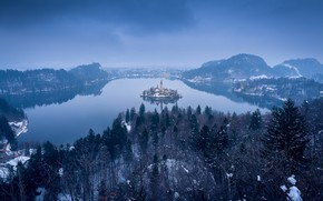 Picture forest, mountains, fog, lake, island, morning, Slovenia, Lake Bled, Slovenia, Lake bled, Bled, Bled, The …