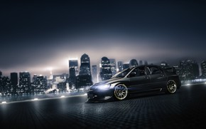 Picture Auto, Night, The city, Machine, Grey, Mitsubishi, Car, Evolution, Mitsubishi Lancer, Mitsubishi Lancer Evolution, Blind …