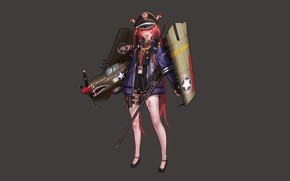 Picture girl, weapons, background