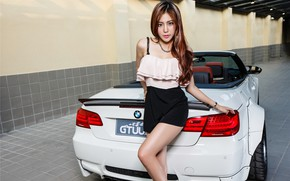 Picture look, Girls, BMW, Asian, beautiful girl, white car, posing on the car