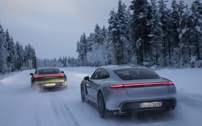 Picture winter, snow, Porsche, on the road, 2020, Taycan, Taycan 4S