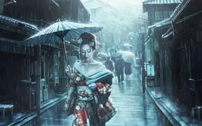 Picture Girl, Japan, Street, Rain, Asian, Umbrella, Umbrella, Japan, Geisha, Japanese, Art, Illustration, The shower, Characters, …