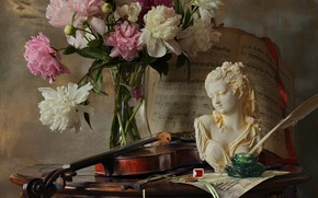 Picture girl, notes, pen, violin, bouquet, figurine, still life, ring, bust, peonies, ink