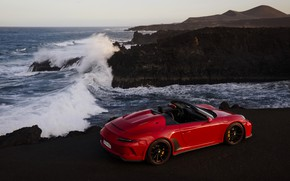 Picture wave, red, rocks, shore, 911, Porsche, Speedster, 991, 2019, 991.2