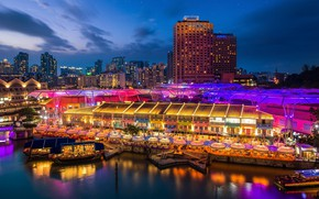 Picture night, the city, boats, Singapore, Singapore, Singapore city
