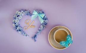 Picture love, flowers, butterfly, heart, love, heart, blue, butterfly, flowers, romantic, forget-me-nots, coffee cup, a Cup ...