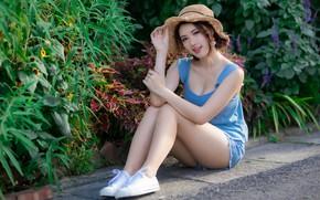 Picture look, girl, hat, legs, Asian, cutie