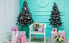 Picture decoration, holiday, tree, interior, gifts, chritmas, Aleksandr Zamuruev