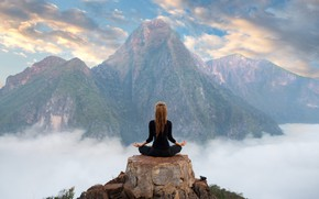 Picture girl, clouds, mountains, relax, meditation, yoga, top, girl, mountains, clouds, the Lotus position, yoga, meditation, …