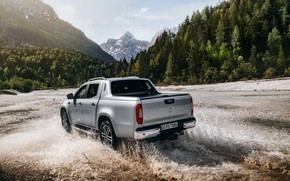 Picture squirt, Mercedes-Benz, pickup, mountain river, 2018, X-Class, gray-silver