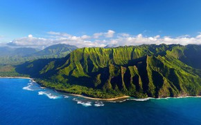 Picture sea, mountains, Hawaii