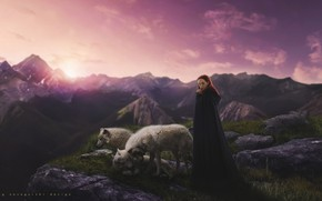 Picture the sky, girl, sunset, mountains, nature, lights, dawn, Wallpaper, woman, Desk, wolves, wallpaper, forest, nature, …