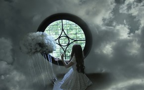 Picture the sky, girl, window, obloka