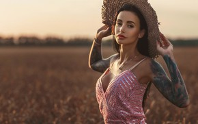 Picture wheat, girl, hat, dress, tattoo, Louis of Navarre, Anna Sakharov