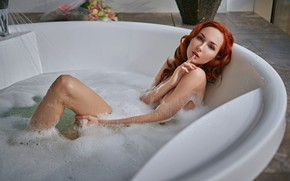 Picture look, foam, girl, pose, bath, red, redhead, curls, Sergey Fat, Sergey Zhirnov, Anna Battle