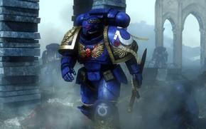 Picture war, sword, helmet, space marine, Warhammer 40,000, power armor