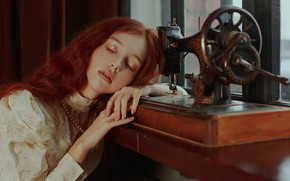 Picture girl, face, hands, red, redhead, closed eyes, sleeping, sewing machine, Marie Dashkova