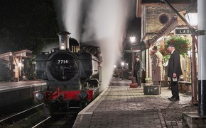 Picture retro, the engine, station, the platform