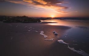 Picture sand, sea, beach, foam, the sun, clouds, light, sunset, stones, rocks, shore, coast, France, the …