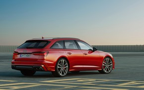 Picture the sky, asphalt, red, Audi, side, universal, 2019, A6 Avant, S6 Before