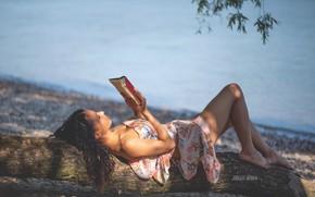 Picture girl, light, pose, lake, tree, shore, book, Jurgen Bauer