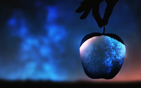 Picture space, Apple, hand, fantasy, blurred background