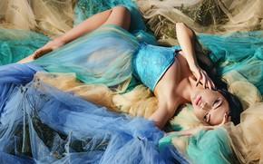 Picture girl, pose, model, hands, makeup, dress, tulle, closed eyes, Oksana Bast, Anastasia Donskaya