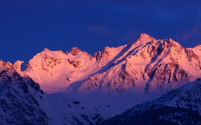 Picture winter, the sky, snow, trees, mountains, nature, rocks, dawn, France, Alps