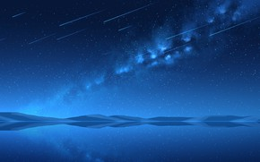 Picture the sky, lake, the milky way