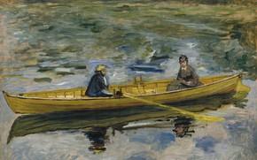 Picture boat, 1880, Pierre Auguste Renoir, Pierre Auguste Renoir, Claude Monet and Madame HENRIOT