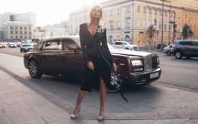 Wallpaper machine, auto, girl, pose, style, model, Rolls-Royce, dress, Rome Rome, Oksana Streltsova