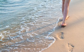 Wallpaper sand, sea, wave, beach, summer, traces, stay, feet, summer, beach, vacation, sea, sand, wave, footprints