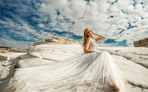 Picture the sky, girl, clouds, pose, model, dress, beauty, Vyacheslav Lozhkin