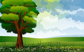Picture field, grass, tree, vector