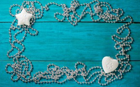 Picture New year, decoration, beads, wood, blue background