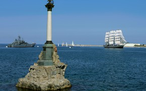 Picture Bay, Sevastopol, monument to the scuttled ships