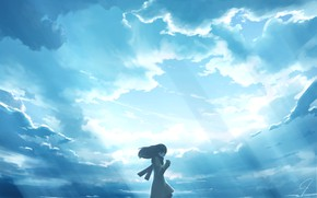Picture sadness, the sky, girl, rays
