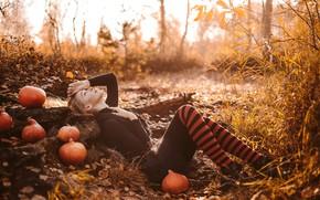 Picture autumn, look, pose, hair, Girl, figure, lies, pumpkin, knee, Anna Fokina