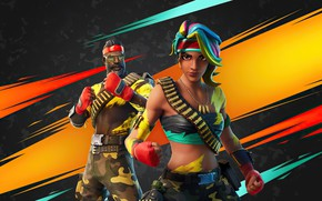 Picture girl, background, man, Fortnite