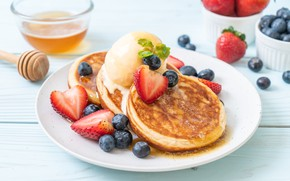 Picture berries, blueberries, strawberry, honey, honey, pancakes, strawberry, berries, pancakes, pancake